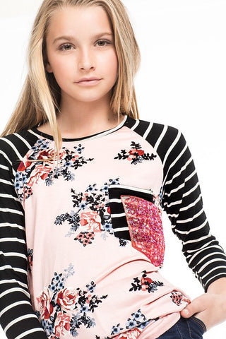 Rose Floral Stripe Top