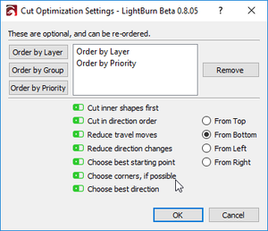 LightBurn 0.8.05 - New cut planner, lots of new extras and fixes