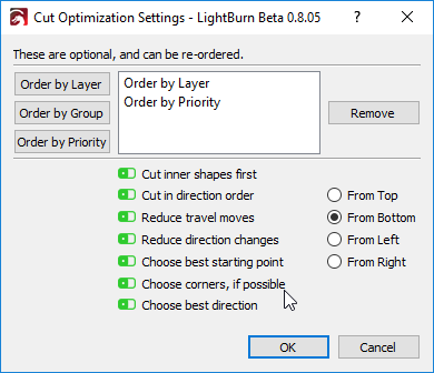 LightBurn 0 8 05 - New cut planner, lots of new extras and fixes