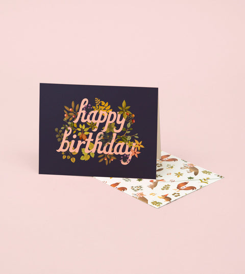BOTANIC BIRTHDAY CARD – NAVY