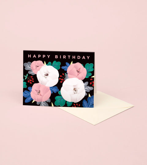 PEONIES BIRTHDAY CARD