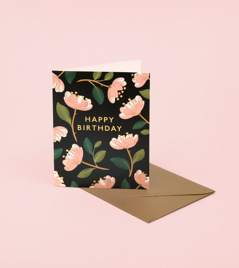 MAGNOLIA BIRTHDAY CARD – BLACK