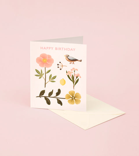 SPARROW BOTANICAL BIRTHDAY CARD