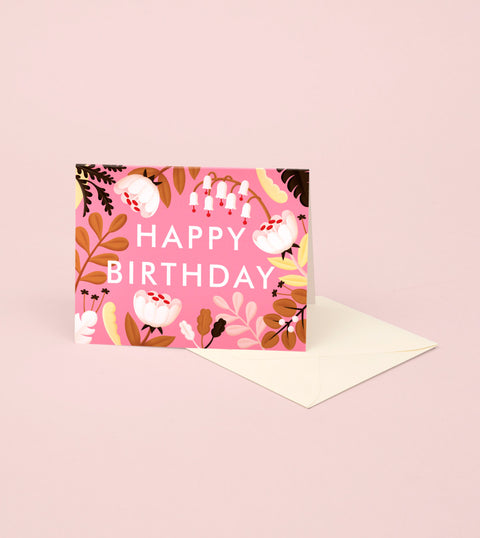 FOREST WILDFLOWERS BIRTHDAY CARD – FUSCIA