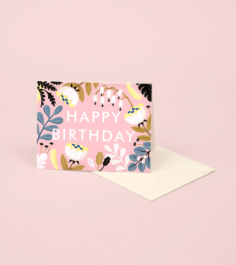 FOREST WILDFLOWERS BIRTHDAY CARD – BLUSH