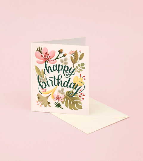TROPICAL PLANTS BIRTHDAY CARD - CREAM