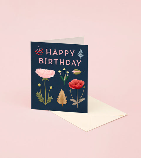 FORAGED POPPY BIRTHDAY CARD – NAVY