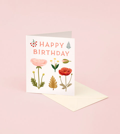 FORAGED BLOOMS BIRTHDAY CARD – CREAM