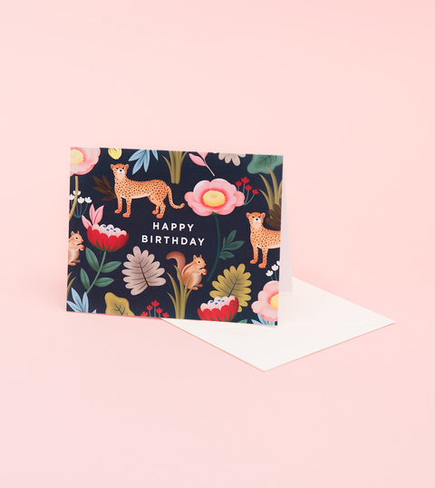ANIMAL KINGDOM BIRTHDAY CARD - NAVY