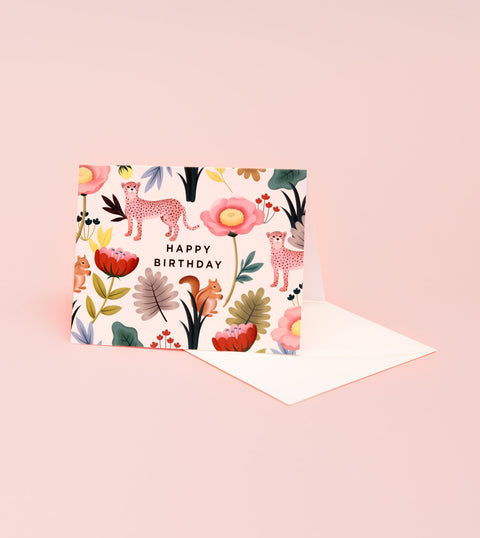 ANIMAL KINGDOM BIRTHDAY CARD - CREAM