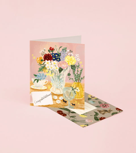ABIGAIL FLOWER DESK CONGRATULATIONS CARD