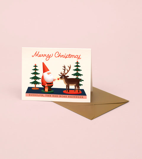 SANTA AND RUDOLPH TOY CHRISTMAS CARD