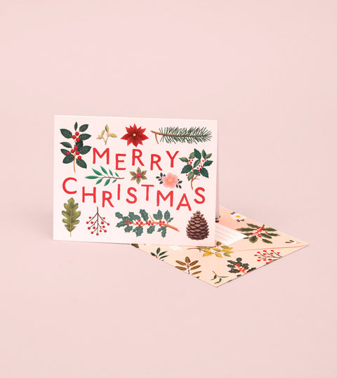 HOLIDAY PLANTS MERRY CHRISTMAS CARD – CREAM