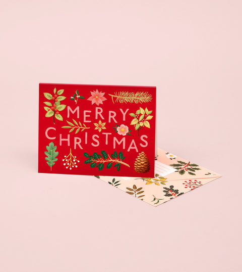 HOLIDAY PLANTS MERRY CHRISTMAS CARD – RED