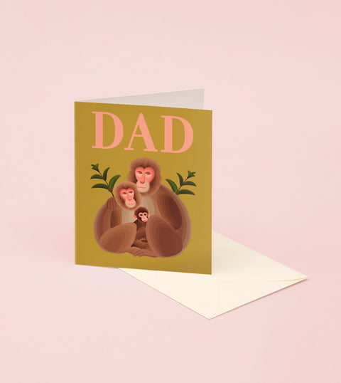 MONKEY FAMILY HAPPY FATHER'S DAY CARD