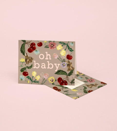 BUNNY AND CHERRY BABY CARD - WARM GREY