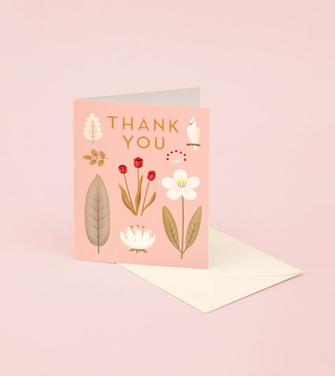 PARROT BOTANICAL THANK YOU CARD - PINK