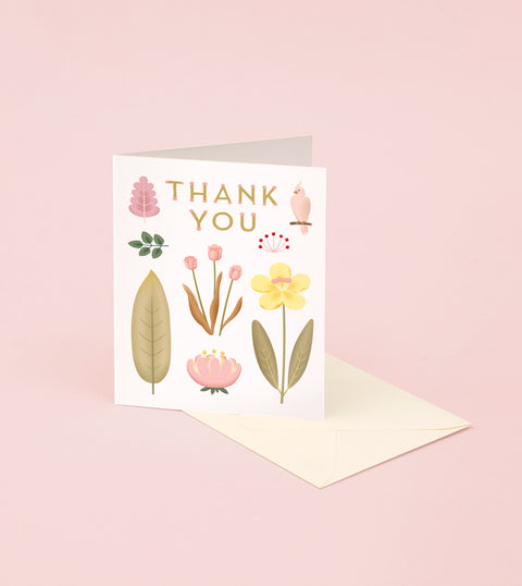 PARROT BOTANICAL THANK YOU CARD - CREAM