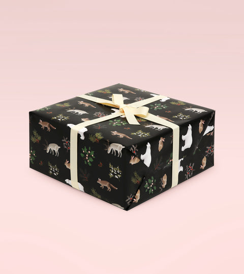 WILD ANIMALS WRAPPING PAPER - BLACK