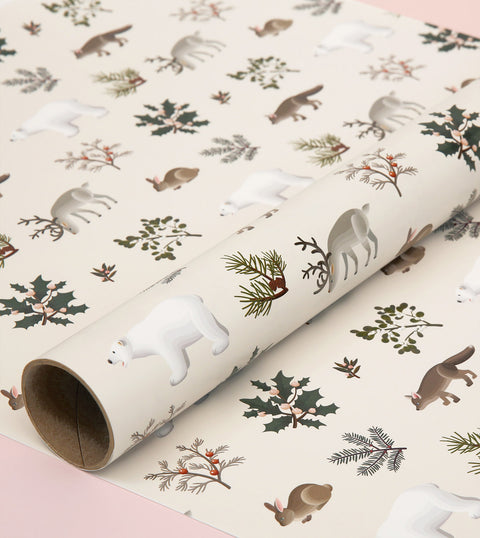 WILD ANIMALS WRAPPING PAPER - CREAM
