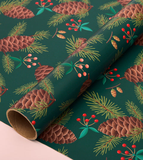 PINE HOLIDAY WRAPPING PAPER