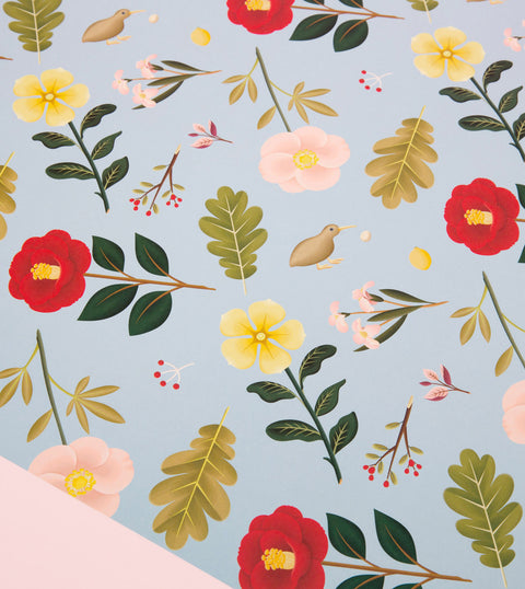 GARDEN BLOOM WRAPPING PAPER - DUSTY BLUE