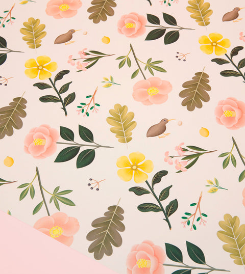 GARDEN BLOOM WRAPPING PAPER - CREAM