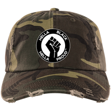 Load image into Gallery viewer, Hella Black. Hella Proud. ™️ Distressed Dad Cap