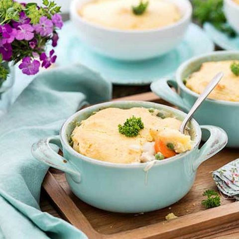 Dad is going to LOVE this recipe for Gluten Free Chicken Pot Pie with Cornbread Crust!
