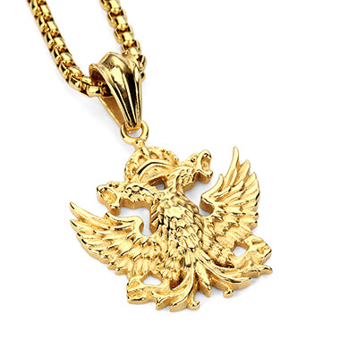 Double headed eagle steel pendant necklace fly wall spits double headed eagle steel pendant necklace mozeypictures Gallery