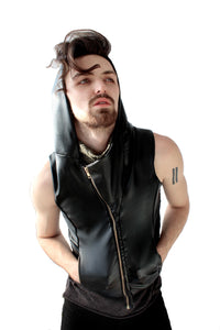 Vegan Leather Hooded Vest
