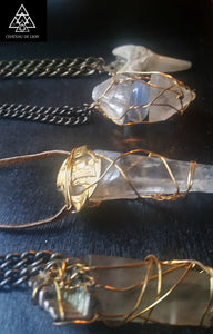 Opal Quartz Crystal Point Amulet Necklace