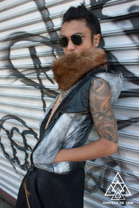 Silver Vegan Leather Hooded Vest