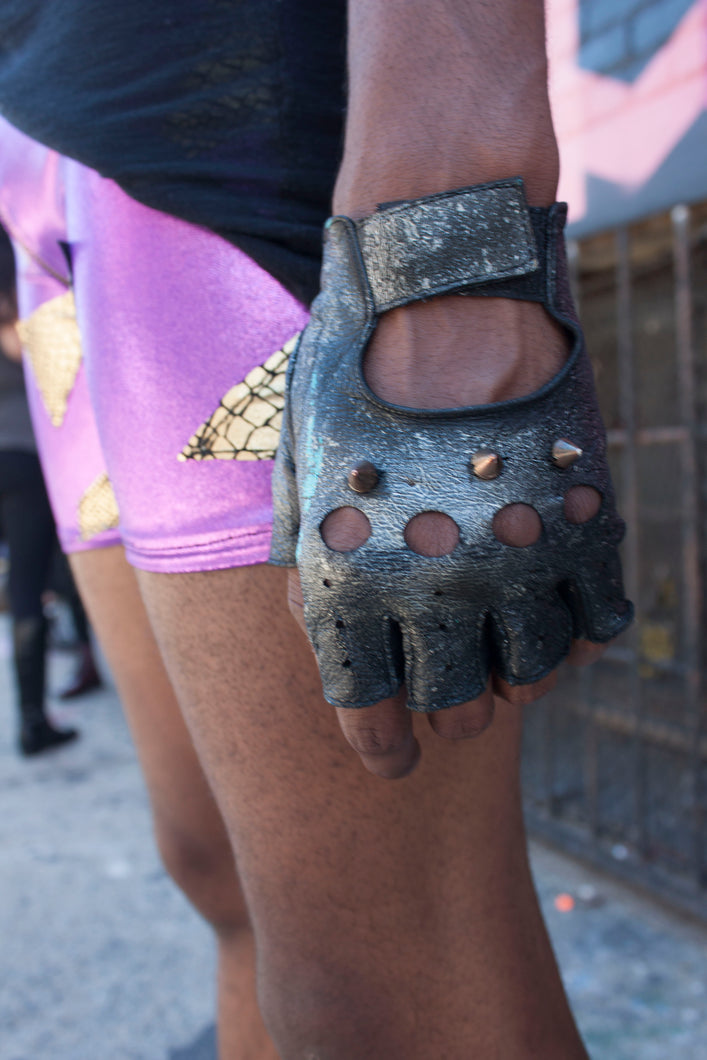 Reclaimed Leather Spiked Gloves