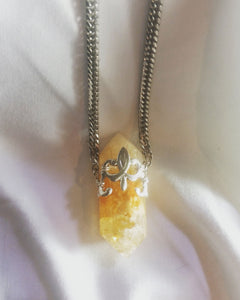 Citrine Point Crystal Amulet Necklace