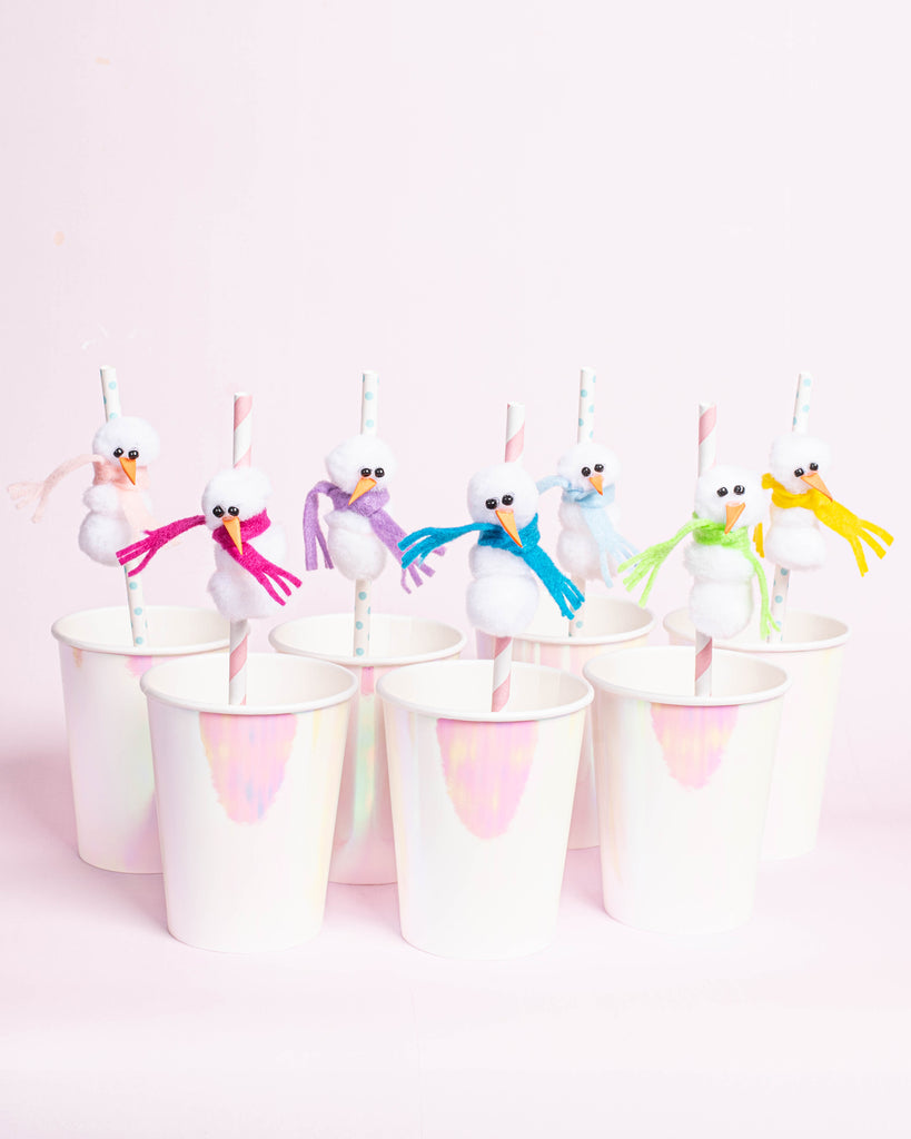 Party et Cie - Pom Pom Snowman Straws
