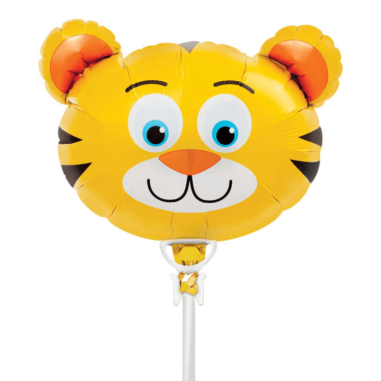 "TIGER HEAD MYLAR BALLOON 14"" WITH STICK"