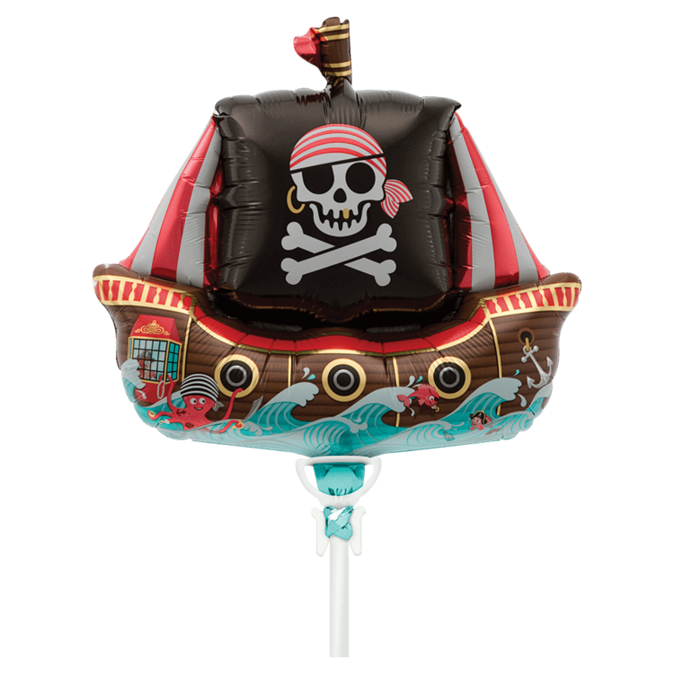 "PIRATE SHIP MYLAR BALLOON 14"" WITH STICK"
