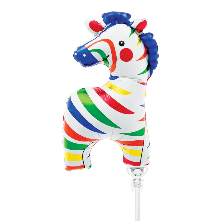 "WEE ZEBRA MYLAR BALLOON 14"" WITH STICK"