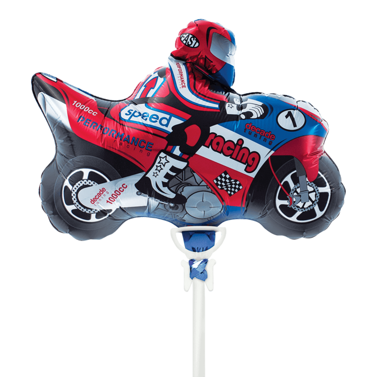"MOTORCYCLE MYLAR BALLOON 14"" WITH STICK"
