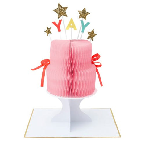 """YAY"" CAKE STAND-UP CARD"