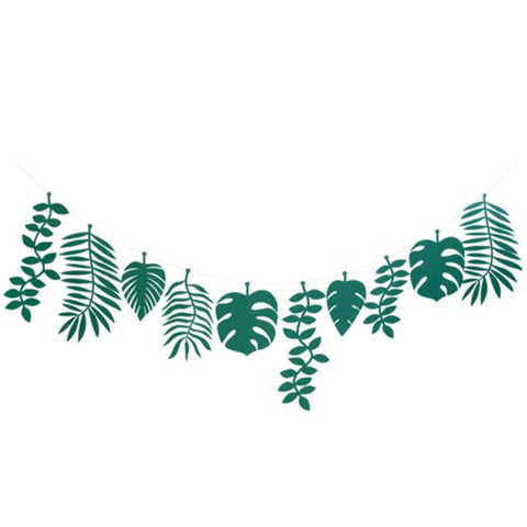 Green Paper Jungle Leaf Garland