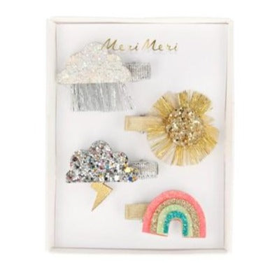 GLITTER WEATHER HAIR CLIPS