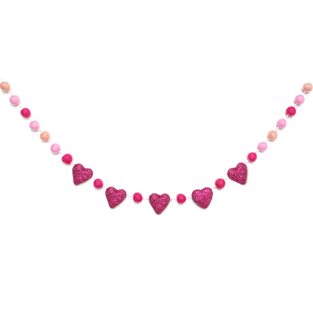 50 SHADES OF PINK GLITTER HEARTS FELT BALL GARLAND