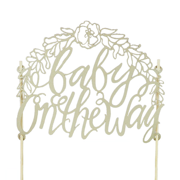 "CAKE TOPPER - GOLD LASER CUT PAPER ""BABY ON THE WAY"""