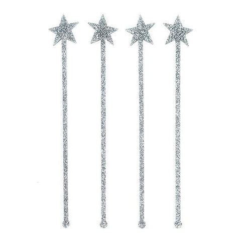 SWIZZLE STICKS - SILVER GLITTER STAR