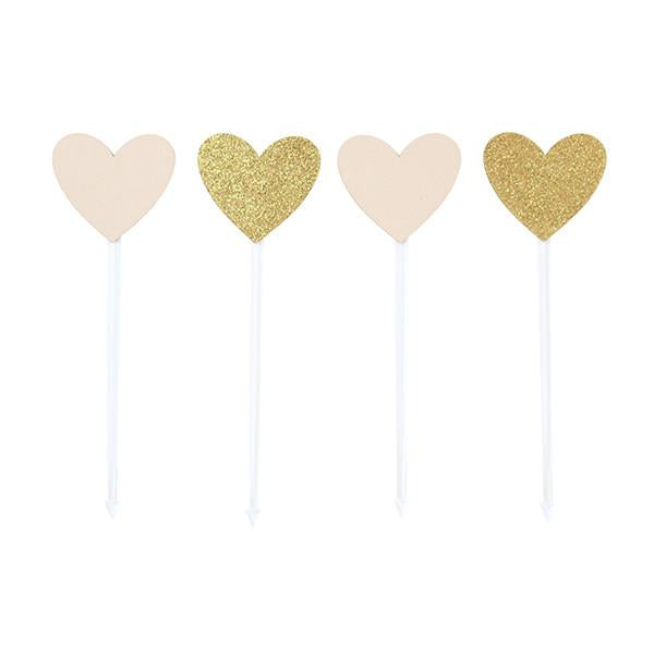 FOOD PICKS - BLUSH AND GOLD GLITTER HEARTS