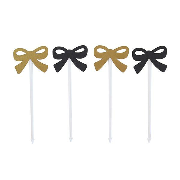 FOOD PICKS - BLACK AND GOLD BOWS