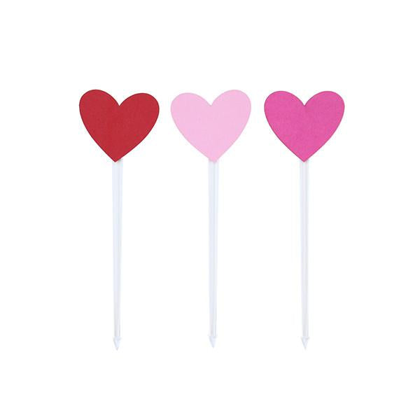 FOOD PICKS - RED AND PINK HEARTS