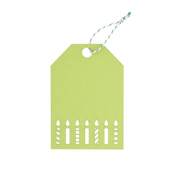 GIFT TAGS - GREEN BIRTHDAY CANDLES